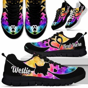 SS-W-Dog-WaterColorNa011-Westie-24@undefined-Westie Dog Lovers Watercolor Sneakers Gym Running Shoes Gift Women Men. Dog Mom Dog Dad Custom Shoes. West Highland White Terrier