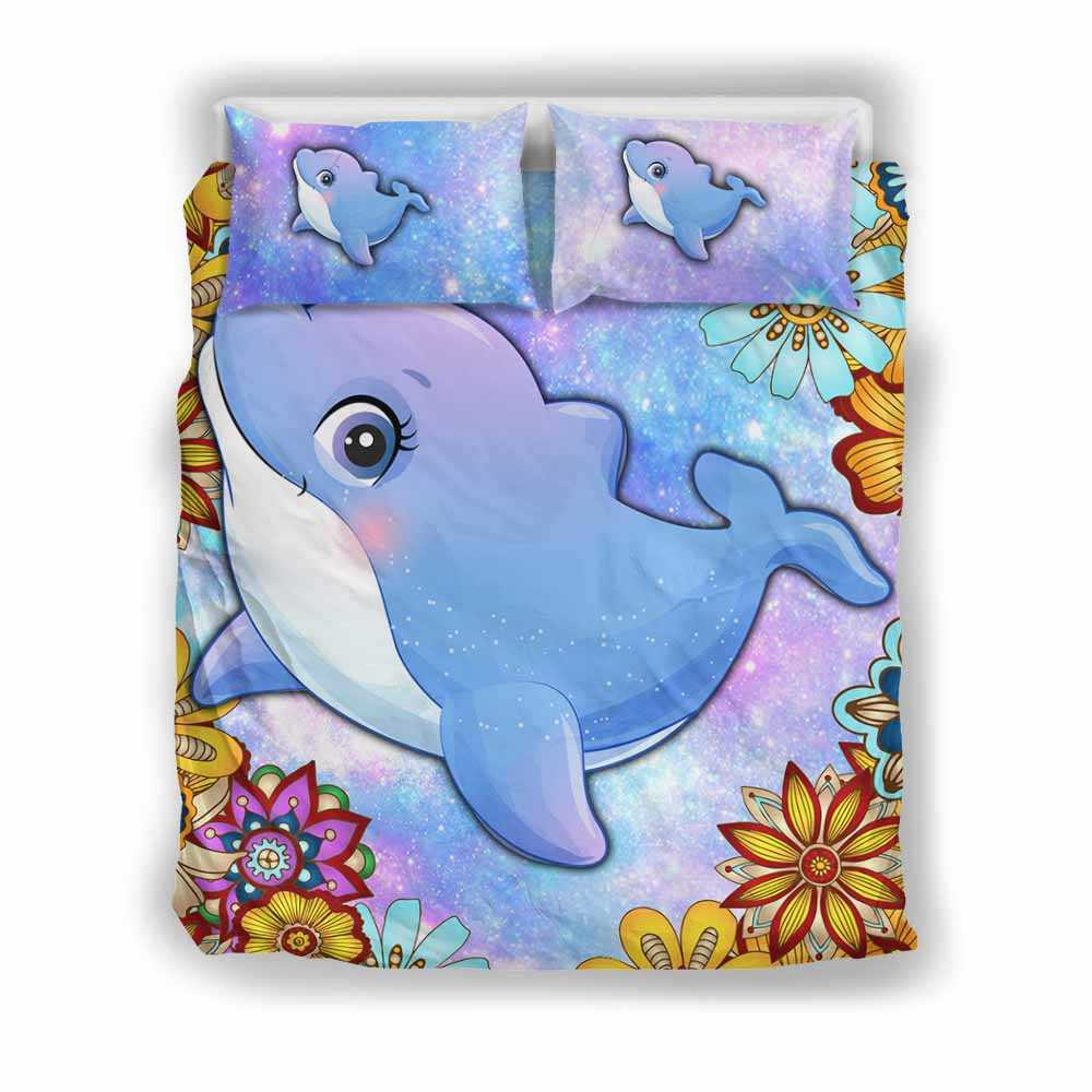 BC-U-Ani-MdlGlxy202-Dolp-7@ Animal Chibi Mandala Galaxy Dolphin-Dolphin Cute Mandala Galaxy Bed Cover Set With Duvet Cover And 2 Pillow Cases. King, Queen And Twin Size Bedding Set Custom Gift.