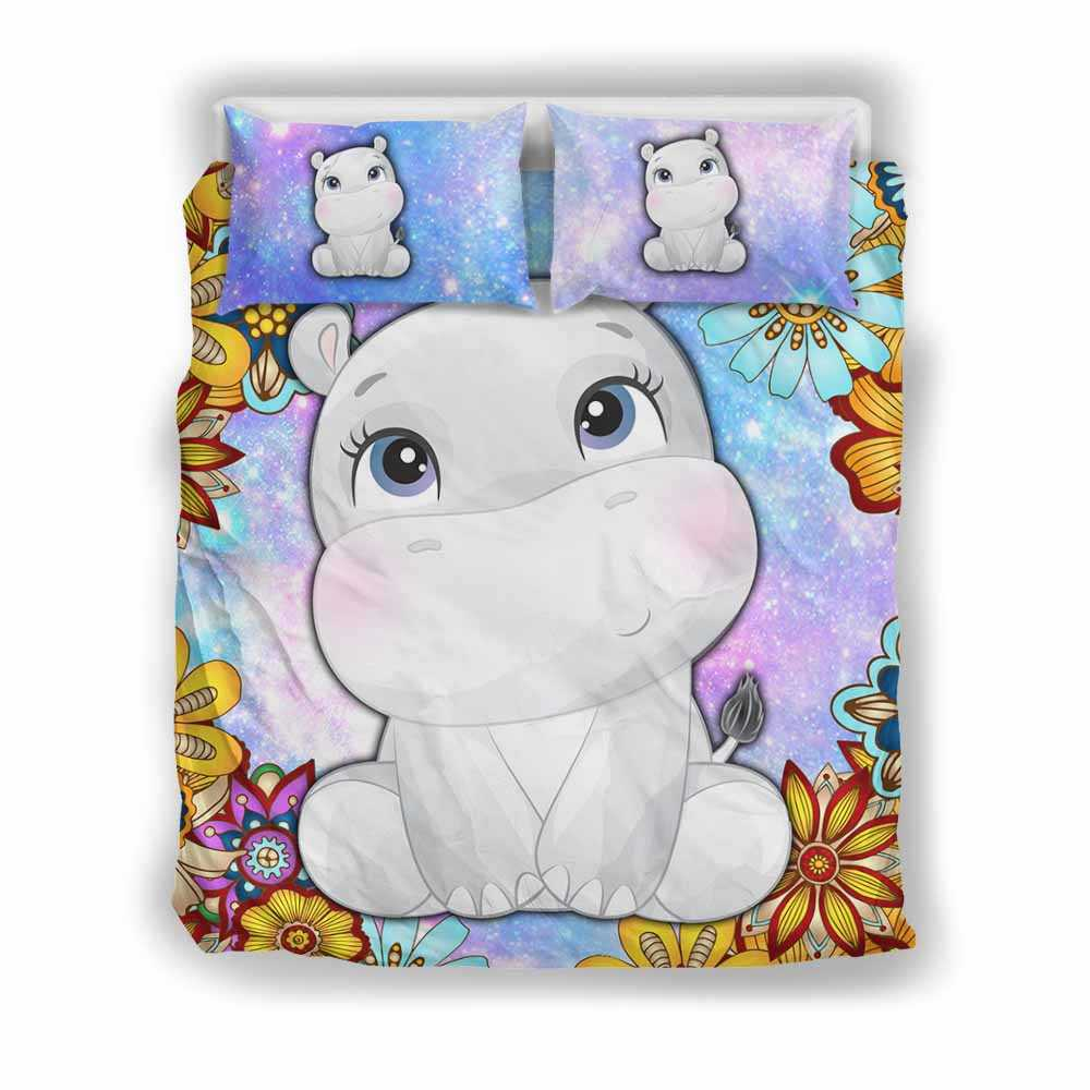 BC-U-Ani-MdlGlxy202-Hipp-17@ Animal Chibi Mandala Galaxy Hippo-Hippo Cute Mandala Galaxy Bed Cover Set With Duvet Cover And 2 Pillow Cases. King, Queen And Twin Size Bedding Set Custom Gift.