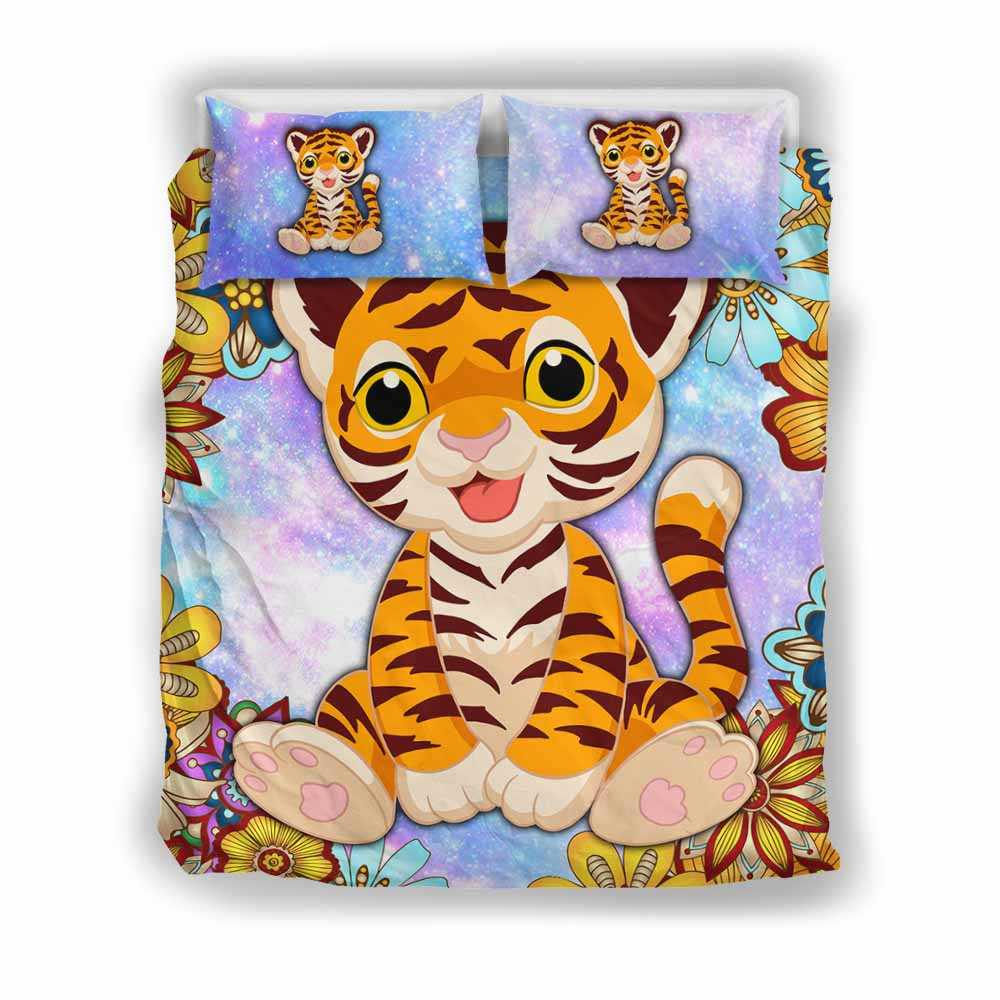BC-U-Ani-MdlGlxy202-Tigr-34@ Animal Chibi Mandala Galaxy Tiger-Tiger Cute Mandala Galaxy Bed Cover Set With Duvet Cover And 2 Pillow Cases. King, Queen And Twin Size Bedding Set Custom Gift.