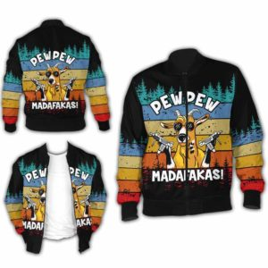 BJ-U-Ani-110-Goat-4@ Animal - Madafakas Goat-Funny Goat Pew Pew Madafakas Bomber Jacket For Women And Men. Soft And Comfortable Mens Womens Custom Bomber Jacket.
