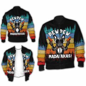 BJ-U-Ani-110-Pug-5@ Animal - Madafakas Pug-Funny Pug Pew Pew Madafakas Bomber Jacket For Women And Men. Soft And Comfortable Mens Womens Custom Bomber Jacket.