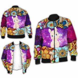 BJ-U-Ani-MdlGlxy220-Alpa-0@ Animal Chibi Mandala Galaxy Alpaca-Cute Alpaca Mandala Galaxy Bomber Jacket For Women And Men. Soft And Comfortable Mens Womens Custom Bomber Jacket.