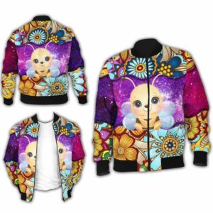 BJ-U-Ani-MdlGlxy220-Bee-2@ Animal Chibi Mandala Galaxy Bee-Cute Bee Mandala Galaxy Bomber Jacket For Women And Men. Soft And Comfortable Mens Womens Custom Bomber Jacket.