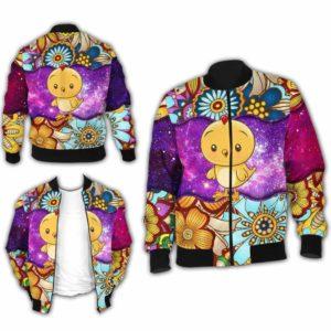 BJ-U-Ani-MdlGlxy220-Cikn-5@ Animal Chibi Mandala Galaxy Chicken-Cute Chicken Mandala Galaxy Bomber Jacket For Women And Men. Soft And Comfortable Mens Womens Custom Bomber Jacket.