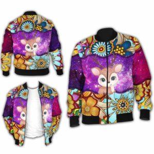 BJ-U-Ani-MdlGlxy220-Dee-6@ Animal Chibi Mandala Galaxy Deer-Cute Deer Mandala Galaxy Bomber Jacket For Women And Men. Soft And Comfortable Mens Womens Custom Bomber Jacket.
