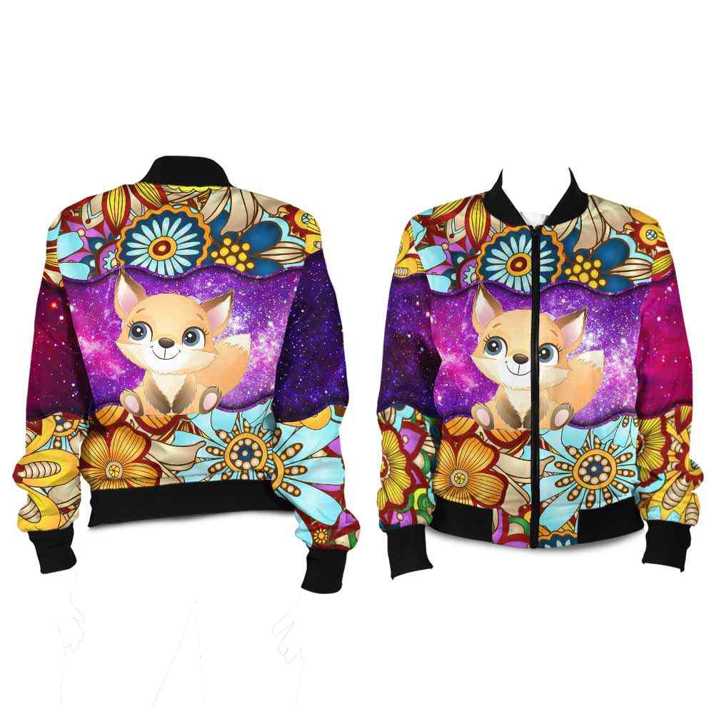 BJ-U-Ani-MdlGlxy220-Fox-9@ Animal Chibi Mandala Galaxy Fox-Cute Fox Mandala Galaxy Bomber Jacket For Women And Men. Soft And Comfortable Mens Womens Custom Bomber Jacket.