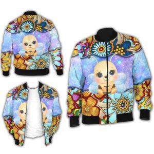 BJ-U-Ani-MdlGlxy222-Bee-2@ Animal Chibi Mandala Galaxy Bee-Cute Bee Galaxy Mandala Bomber Jacket For Women And Men. Soft And Comfortable Mens Womens Custom Bomber Jacket.