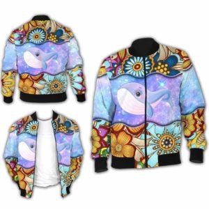 BJ-U-Ani-MdlGlxy222-Bwhal-3@ Animal Chibi Mandala Galaxy Blue Whale-Cute Blue Whale Galaxy Mandala Bomber Jacket For Women And Men. Soft And Comfortable Mens Womens Custom Bomber Jacket.
