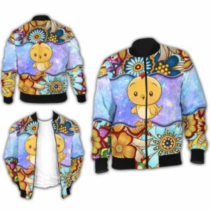 BJ-U-Ani-MdlGlxy222-Cikn-5@ Animal Chibi Mandala Galaxy Chicken-Cute Chicken Galaxy Mandala Bomber Jacket For Women And Men. Soft And Comfortable Mens Womens Custom Bomber Jacket.