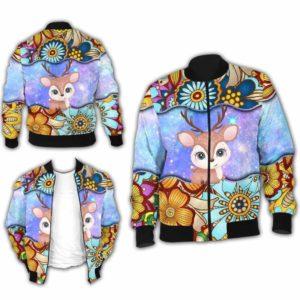BJ-U-Ani-MdlGlxy222-Dee-6@ Animal Chibi Mandala Galaxy Deer-Cute Deer Galaxy Mandala Bomber Jacket For Women And Men. Soft And Comfortable Mens Womens Custom Bomber Jacket.