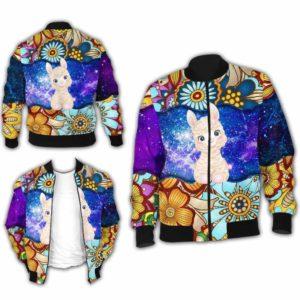 BJ-U-Ani-MdlGlxy223-Alpa-0@ Animal Chibi Mandala Galaxy Alpaca-Cute Alpaca Mandala Bomber Jacket For Women And Men. Soft And Comfortable Mens Womens Galaxy Custom Bomber Jacket.