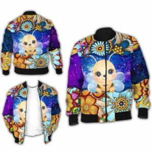 BJ-U-Ani-MdlGlxy223-Bee-2@ Animal Chibi Mandala Galaxy Bee-Cute Bee Mandala Bomber Jacket For Women And Men. Soft And Comfortable Mens Womens Galaxy Custom Bomber Jacket.