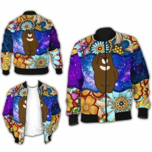 BJ-U-Ani-MdlGlxy223-Ber-1@ Animal Chibi Mandala Galaxy Bear-Cute Bear Mandala Bomber Jacket For Women And Men. Soft And Comfortable Mens Womens Galaxy Custom Bomber Jacket.