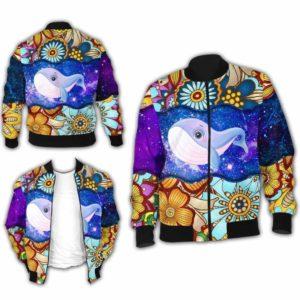 BJ-U-Ani-MdlGlxy223-Bwhal-3@ Animal Chibi Mandala Galaxy Blue Whale-Cute Blue Whale Mandala Bomber Jacket For Women And Men. Soft And Comfortable Mens Womens Galaxy Custom Bomber Jacket.