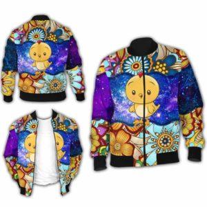 BJ-U-Ani-MdlGlxy223-Cikn-5@ Animal Chibi Mandala Galaxy Chicken-Cute Chicken Mandala Bomber Jacket For Women And Men. Soft And Comfortable Mens Womens Galaxy Custom Bomber Jacket.