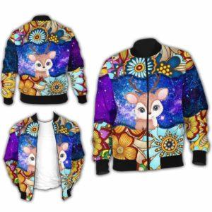 BJ-U-Ani-MdlGlxy223-Dee-6@ Animal Chibi Mandala Galaxy Deer-Cute Deer Mandala Bomber Jacket For Women And Men. Soft And Comfortable Mens Womens Galaxy Custom Bomber Jacket.