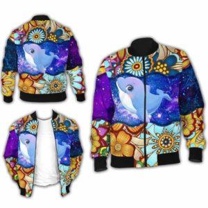 BJ-U-Ani-MdlGlxy223-Dolp-7@ Animal Chibi Mandala Galaxy Dolphin-Cute Dolphin Mandala Bomber Jacket For Women And Men. Soft And Comfortable Mens Womens Galaxy Custom Bomber Jacket.