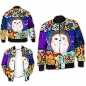 BJ-U-Ani-MdlGlxy223-Hedg-16@ Animal Chibi Mandala Galaxy Hedgehog-Cute Hedgehog Mandala Bomber Jacket For Women And Men. Soft And Comfortable Mens Womens Galaxy Custom Bomber Jacket.