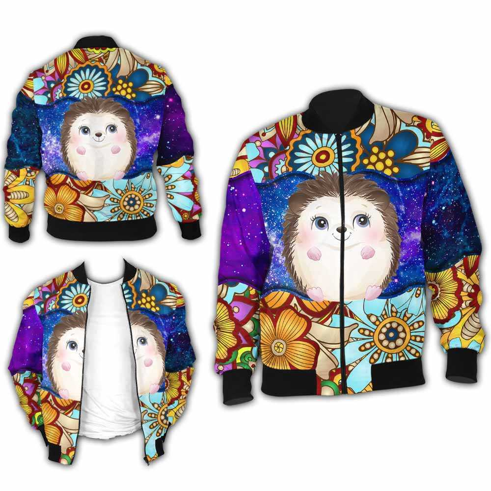 BJ-U-Ani-MdlGlxy223-Hedg-16@ Animal Chibi Mandala Galaxy Hedgehog-Cute Hedgehog Mandala Bomber Jacket For Women And Men. Soft And Comfortable Mens Womens Galaxy Custom Bomber Jacket.