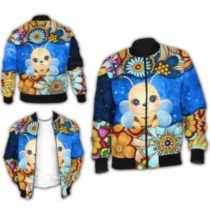 BJ-U-Ani-MdlGlxy225-Bee-2@ Animal Chibi Mandala Galaxy Bee-Cute Bee Galaxy Bomber Jacket For Women And Men. Soft And Comfortable Mens Womens Mandala Custom Bomber Jacket.