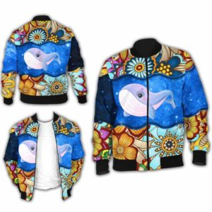 BJ-U-Ani-MdlGlxy225-Bwhal-3@ Animal Chibi Mandala Galaxy Blue Whale-Cute Blue Whale Galaxy Bomber Jacket For Women And Men. Soft And Comfortable Mens Womens Mandala Custom Bomber Jacket.