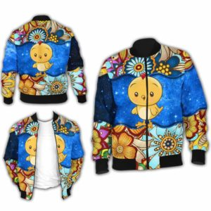 BJ-U-Ani-MdlGlxy225-Cikn-5@ Animal Chibi Mandala Galaxy Chicken-Cute Chicken Galaxy Bomber Jacket For Women And Men. Soft And Comfortable Mens Womens Mandala Custom Bomber Jacket.