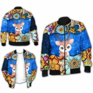 BJ-U-Ani-MdlGlxy225-Dee-6@ Animal Chibi Mandala Galaxy Deer-Cute Deer Galaxy Bomber Jacket For Women And Men. Soft And Comfortable Mens Womens Mandala Custom Bomber Jacket.