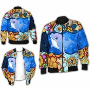 BJ-U-Ani-MdlGlxy225-Dolp-7@ Animal Chibi Mandala Galaxy Dolphin-Cute Dolphin Galaxy Bomber Jacket For Women And Men. Soft And Comfortable Mens Womens Mandala Custom Bomber Jacket.