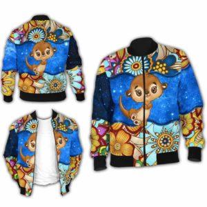 BJ-U-Ani-MdlGlxy225-Oter-24@ Animal Chibi Mandala Galaxy Otter-Cute Otter Galaxy Bomber Jacket For Women And Men. Soft And Comfortable Mens Womens Mandala Custom Bomber Jacket.