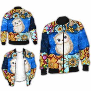 BJ-U-Ani-MdlGlxy225-Owl-25@ Animal Chibi Mandala Galaxy Owl-Cute Owl Galaxy Bomber Jacket For Women And Men. Soft And Comfortable Mens Womens Mandala Custom Bomber Jacket.