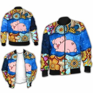 BJ-U-Ani-MdlGlxy225-Pig-28@ Animal Chibi Mandala Galaxy Pig-Cute Pig Galaxy Bomber Jacket For Women And Men. Soft And Comfortable Mens Womens Mandala Custom Bomber Jacket.
