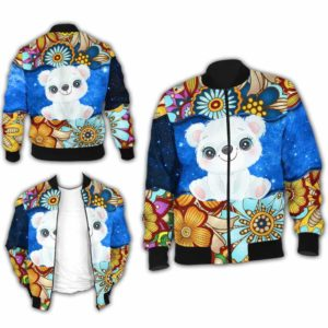 BJ-U-Ani-MdlGlxy225-Plbr-29@ Animal Chibi Mandala Galaxy Polar Bear-Cute Polar Bear Galaxy Bomber Jacket For Women And Men. Soft And Comfortable Mens Womens Mandala Custom Bomber Jacket.