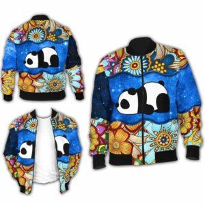BJ-U-Ani-MdlGlxy225-Pnda-26@ Animal Chibi Mandala Galaxy Panda-Cute Panda Galaxy Bomber Jacket For Women And Men. Soft And Comfortable Mens Womens Mandala Custom Bomber Jacket.