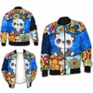 BJ-U-Ani-MdlGlxy225-Pnda-27@ Animal Chibi Mandala Galaxy Panda-Cute Panda Galaxy Bomber Jacket For Women And Men. Soft And Comfortable Mens Womens Mandala Custom Bomber Jacket.