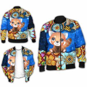 BJ-U-Ani-MdlGlxy225-Rpda-31@ Animal Chibi Mandala Galaxy Red Panda-Cute Red Panda Galaxy Bomber Jacket For Women And Men. Soft And Comfortable Mens Womens Mandala Custom Bomber Jacket.