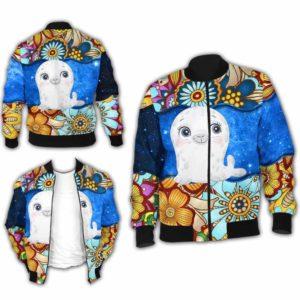BJ-U-Ani-MdlGlxy225-Seal-32@ Animal Chibi Mandala Galaxy Seal-Cute Seal Galaxy Bomber Jacket For Women And Men. Soft And Comfortable Mens Womens Mandala Custom Bomber Jacket.