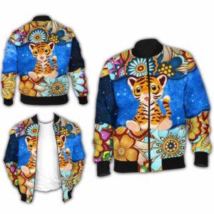 BJ-U-Ani-MdlGlxy225-Tigr-34@ Animal Chibi Mandala Galaxy Tiger-Cute Tiger Galaxy Bomber Jacket For Women And Men. Soft And Comfortable Mens Womens Mandala Custom Bomber Jacket.