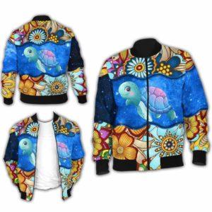 BJ-U-Ani-MdlGlxy225-Ttle-35@ Animal Chibi Mandala Galaxy Turtle-Cute Turtle Galaxy Bomber Jacket For Women And Men. Soft And Comfortable Mens Womens Mandala Custom Bomber Jacket.