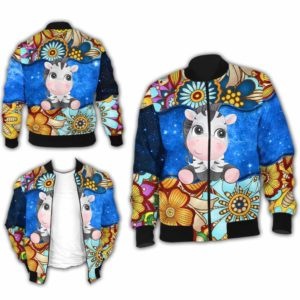 BJ-U-Ani-MdlGlxy225-Zbra-36@ Animal Chibi Mandala Galaxy Zebra-Cute Zebra Galaxy Bomber Jacket For Women And Men. Soft And Comfortable Mens Womens Mandala Custom Bomber Jacket.