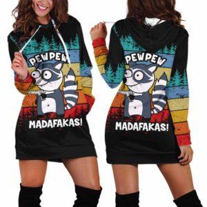 HD-U-Ani-130-Rcon-7@ Animal - Madafakas Raccoon-Funny Raccoon Pew Pew Madafakas Women Hoodie Dress. Soft, Comfortable Hooded Sweatshirt Sweater Dress Custom Gift.