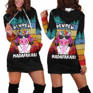 HD-U-Ani-130-Uncr-8@ Animal - Madafakas Unicorn-Funny Unicorn Pew Pew Madafakas Women Hoodie Dress. Soft, Comfortable Hooded Sweatshirt Sweater Dress Custom Gift.