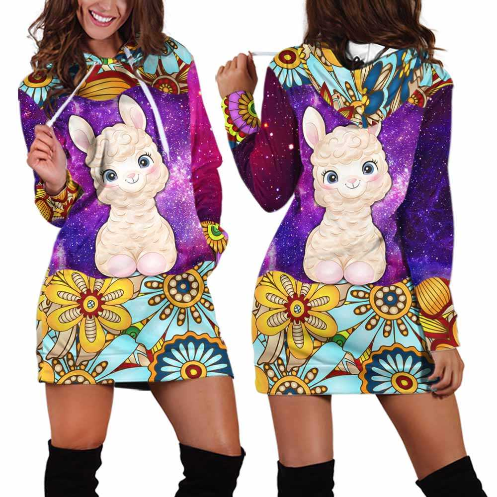 HD-U-Ani-MdlGlxy230-Alpa-0@ Animal Chibi Mandala Galaxy Alpaca-Alpaca Mandala Cute Galaxy Women'S Hoodie Dress With Pocket. Soft, Comfortable Hooded Sweatshirt Sweater Dress, Custom Gift For Women.