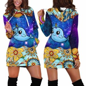 HD-U-Ani-MdlGlxy233-Nwal-21@ Animal Chibi Mandala Galaxy Narwhal-Narwhal Cute Mandala Galaxy Women'S Hoodie Dress With Pocket. Soft, Comfortable Hooded Sweatshirt Sweater Dress, Custom Gift For Women.
