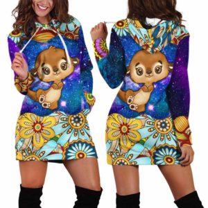 HD-U-Ani-MdlGlxy233-Oter-24@ Animal Chibi Mandala Galaxy Otter-Otter Cute Mandala Galaxy Women'S Hoodie Dress With Pocket. Soft, Comfortable Hooded Sweatshirt Sweater Dress, Custom Gift For Women.