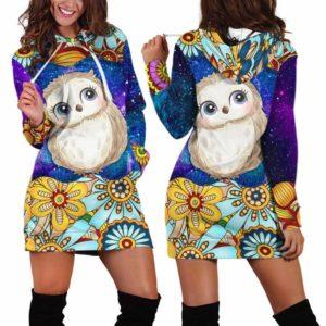 HD-U-Ani-MdlGlxy233-Owl-25@ Animal Chibi Mandala Galaxy Owl-Owl Cute Mandala Galaxy Women'S Hoodie Dress With Pocket. Soft, Comfortable Hooded Sweatshirt Sweater Dress, Custom Gift For Women.