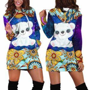HD-U-Ani-MdlGlxy233-Plbr-29@ Animal Chibi Mandala Galaxy Polar Bear-Polar Bear Cute Mandala Galaxy Women'S Hoodie Dress With Pocket. Soft, Comfortable Hooded Sweatshirt Sweater Dress, Custom Gift For Women.