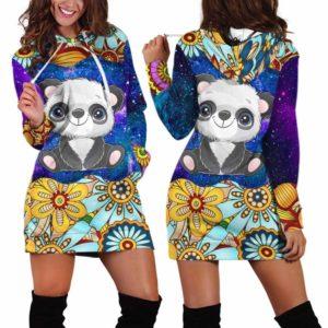 HD-U-Ani-MdlGlxy233-Pnda-27@ Animal Chibi Mandala Galaxy Panda-Panda Cute Mandala Galaxy Women'S Hoodie Dress With Pocket. Soft, Comfortable Hooded Sweatshirt Sweater Dress, Custom Gift For Women.