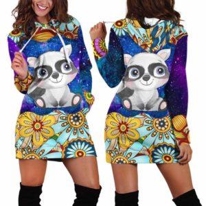HD-U-Ani-MdlGlxy233-Rcon-30@ Animal Chibi Mandala Galaxy Raccoon-Raccoon Cute Mandala Galaxy Women'S Hoodie Dress With Pocket. Soft, Comfortable Hooded Sweatshirt Sweater Dress, Custom Gift For Women.