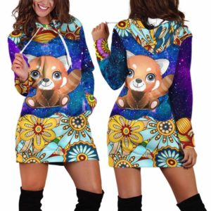 HD-U-Ani-MdlGlxy233-Rpda-31@ Animal Chibi Mandala Galaxy Red Panda-Red Panda Cute Mandala Galaxy Women'S Hoodie Dress With Pocket. Soft, Comfortable Hooded Sweatshirt Sweater Dress, Custom Gift For Women.